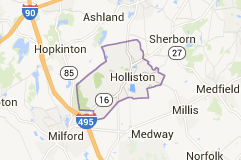 google map of Holliston, MA